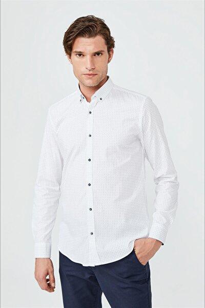 Baskılı Düğmeli Yaka Slim Fit Garnili Gömlek