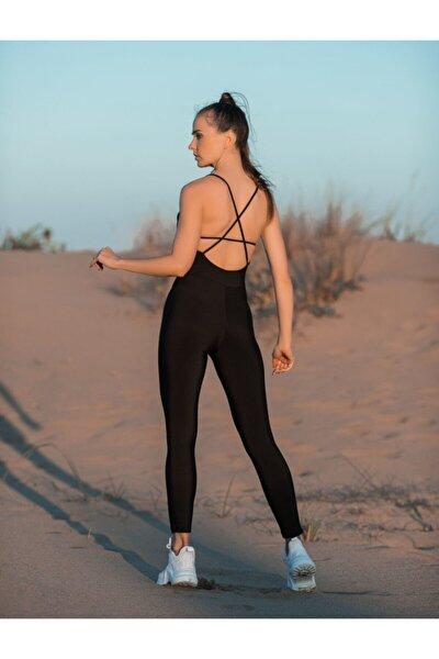 Kadın Siyah Yoga Pilates Fitness Spor Tulumu