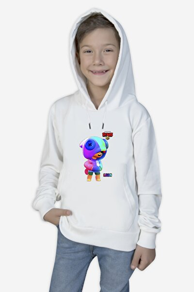 Brawl-stars- Beyaz Çocuk Sweatshirt-leon-9