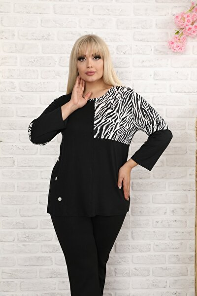 Kadın Siyah Zebra Detaylı Bluz 65N20101