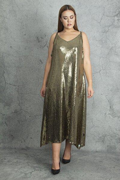 Kadın Gold Askılı Payet Elbise 65N20084