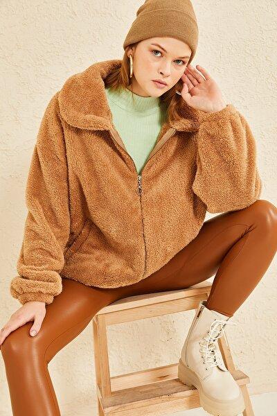 Kadın Camel Fermuarlı Peluş Mevsimlik Ceket