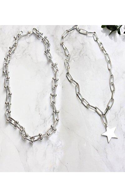 Gümüş Kaplama Ikili Kombin Kolye Yıldız Kolye Ve Blanca Tiffany Kolye