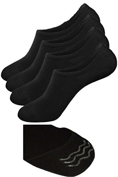 Unisex Bambu Görünmez Çorap Siyah (Kaymaz Topuk) Extra Soft
