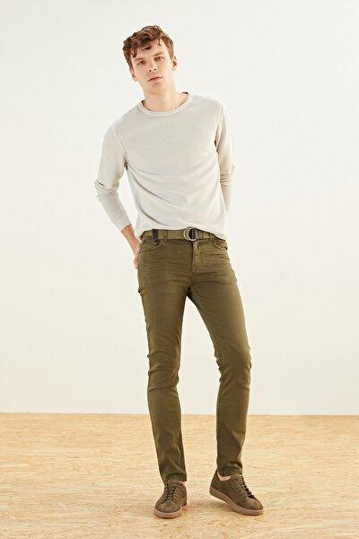 Erkek Haki Pamuklu Slım Fıt Pantolon 365018