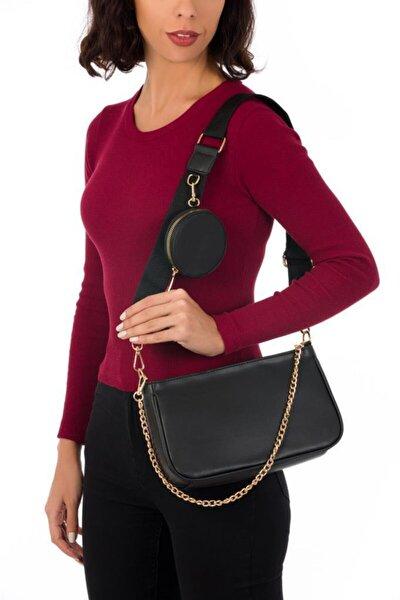Kadın Siyah Oval Cüzdanlı Çapraz Çanta