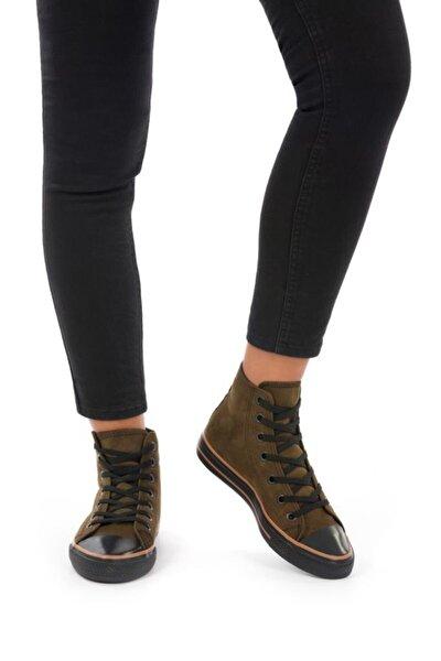 Kadın Haki Süet Uzun Spor Ayakkabı