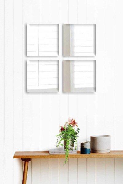 4 Parça 20x20cm Antre Hol Koridor Duvar Salon Mutfak Banyo Wc Ofis Çocuk Yatak Odası Set Ayna