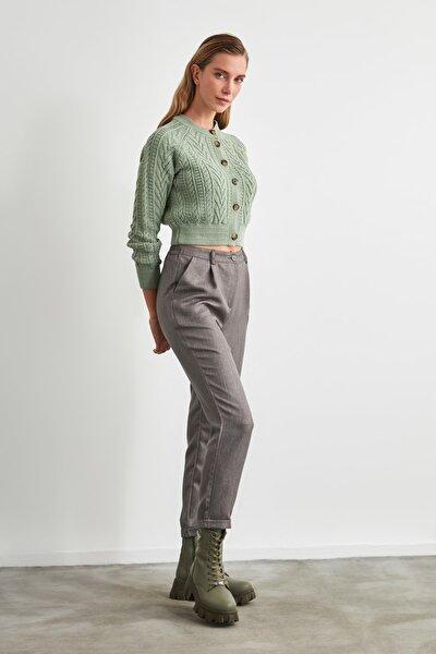 Gri Pili Detaylı Pantolon TWOAW20PL0541
