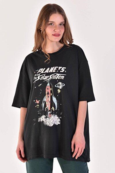 Kadın Füme Baskılı Geniş Kesim Tişört