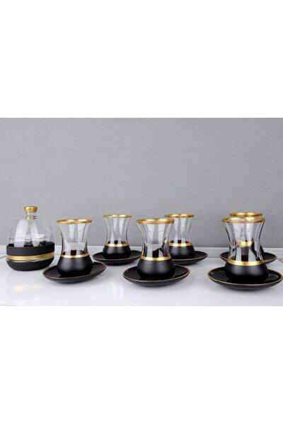 Siyah Gold Şeritli Çay Bardak Takımı Ve Şekerlik 13 Parça