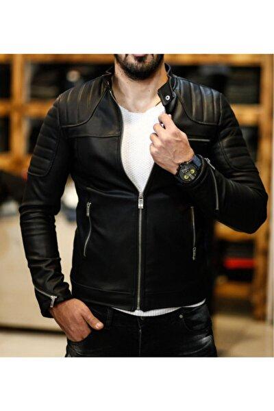 Erkek Deri Mont Ceket Omuz Çizgili Model 2020 New Season