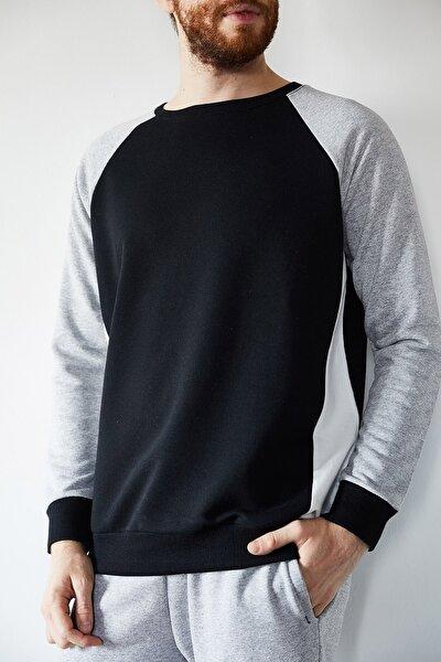Erkek Siyah Gri Garnili Sweatshirt 1kxe8-44223-02