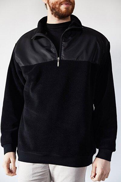 Erkek Siyah Deri Garnili Polar Sweatshirt 1kxe8-44233-02