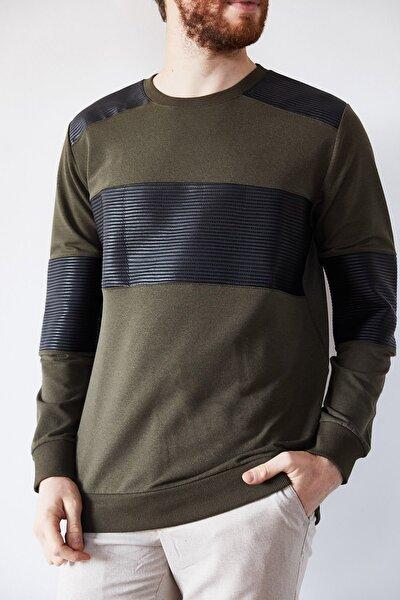 Erkek Haki Deri Garnili Sweatshirt 1kxe8-44234-09