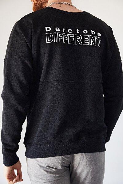 Erkek Antrasit Sırtı Different Baskılı Sweatshirt 1kxe8-44228-36