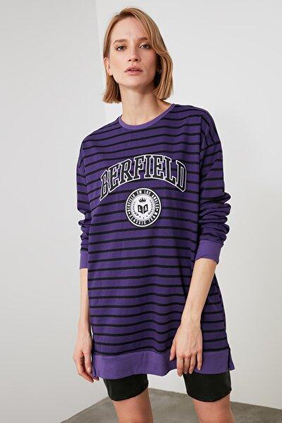 Mor Baskılı Örme Sweatshirt TWOAW21SW1550