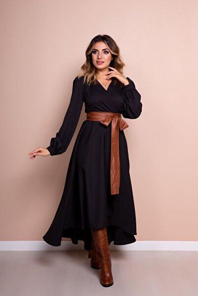 Kadın Siyah Taba Deri Kemerli Uzun Kol Asimetrik Kesim Elbise