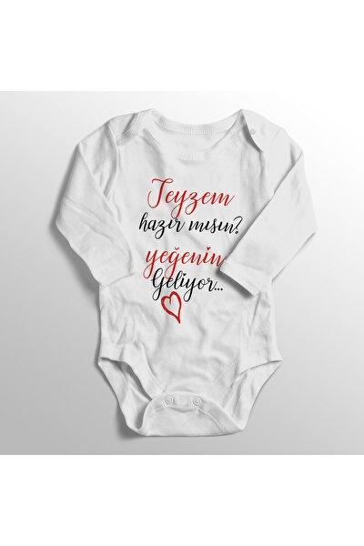 Bebek Beyaz Teyzem Hazır Mısın Yeğenin Geliyor Baskılı Bebek Zıbını