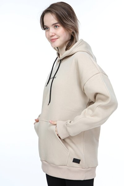 Kadın Camel Oversize Stay Antisocial Baskılı Sweatshirt
