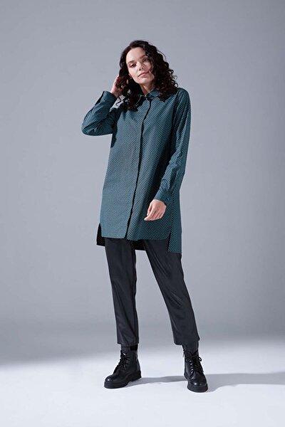 Kadın Yeşil Desenli Gömlek Tunik