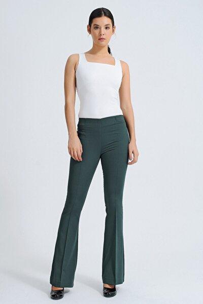 Kadın Yeşil Ön Arka Dikişli İspanyol Paça Tayt Pantolon