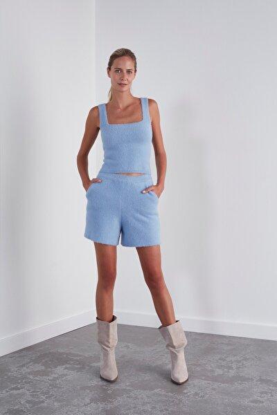 Kadın Yumuşak Dokulu Triko Şort-açık Mavi