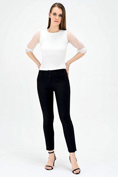 Kadın Siyah Dream Yüksek Bel Süs Cepli Bilek Boy Pantolon  2434