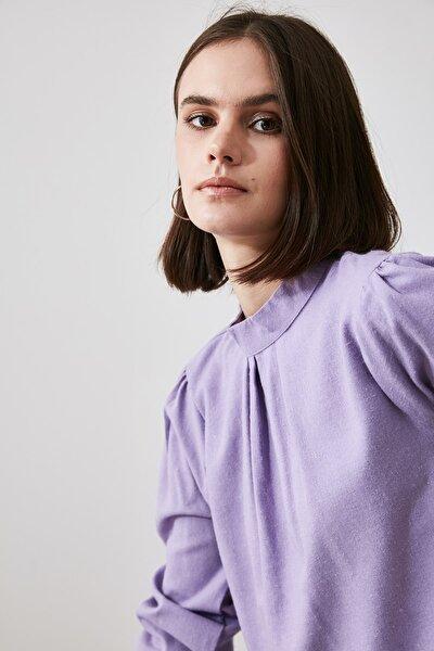 Lila Büzgülü Bluz TWOAW21BZ1097