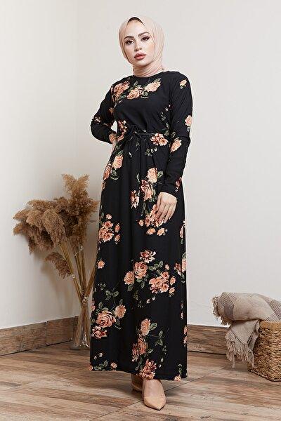 Kadın Siyah Çiçek Desenli Tesettür Elbise