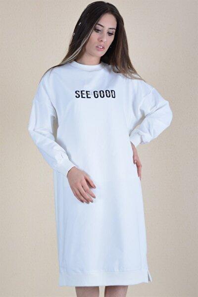 Kadın Ekru Baskılı Uzun Sweat Elbise