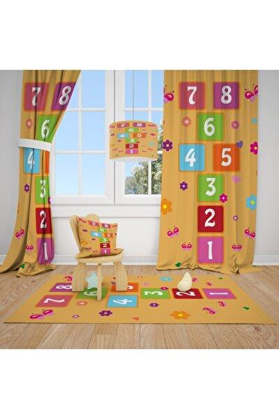 1 Kanat Turuncu Zemin,çiçek,sek Sek Oyunu Çocuk Bebek Odası Perdesi Fon Perde