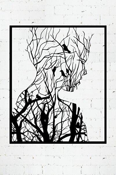 Ormandan Doğan Kadın Lazer Kesim Metal Duvar Tablo 72X87cm