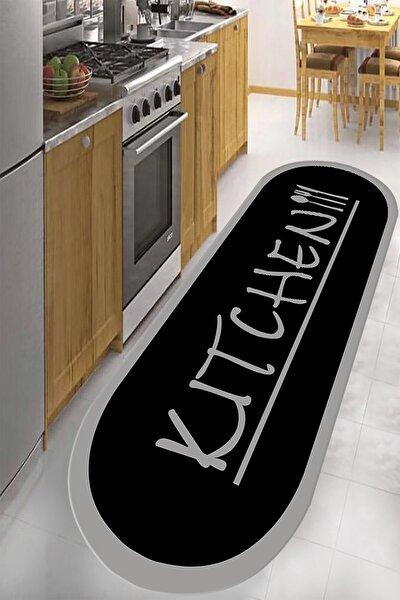 Dijital Baskılı Kaymaz Taban Yıkanabilir Kitchen Yazılı Siyah Gri Renkli Mutfak Halısı