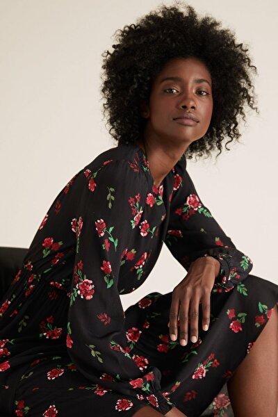 Kadın Siyah Çiçek Desenli Waisted Elbise T42004169