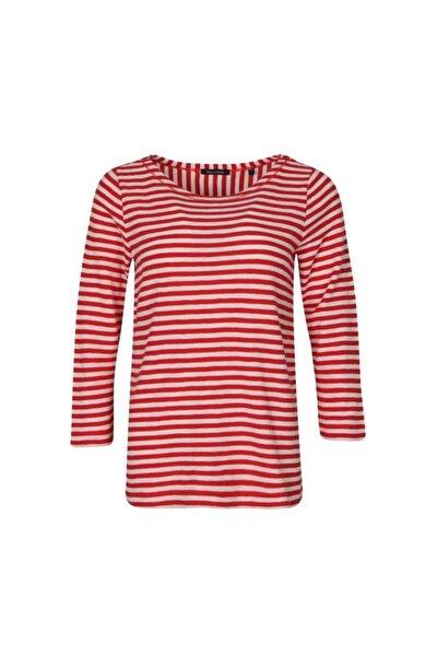 Marko Polo Kadın Sweatshirt Geniş Yaka Çizgili