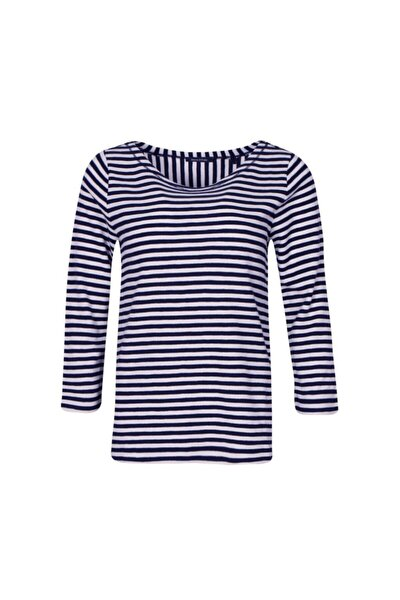Kadın Lacivert Geniş Yaka Çizgili Marko Polo  Sweatshirt