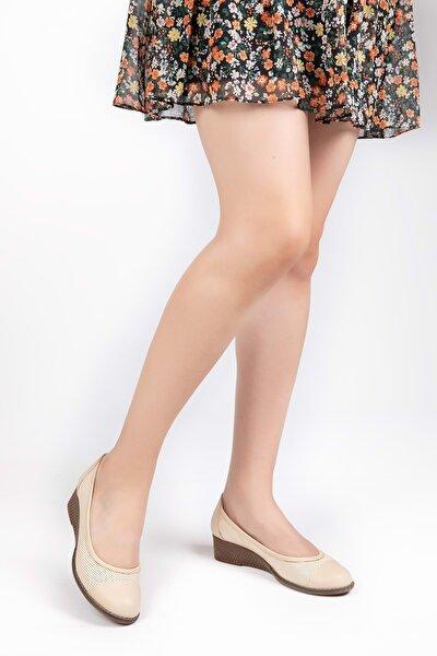 Kadın Bej  Deri Anatomik Taban Günlük Ayakkabı
