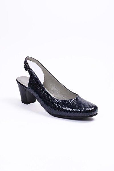 Kadın Lacivert Petek  Deri Klasik Ayakkabı