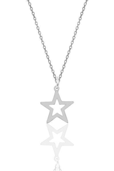 Kadın Gümüş Yıldız Modeli  Kolye SGTL9707RODAJ