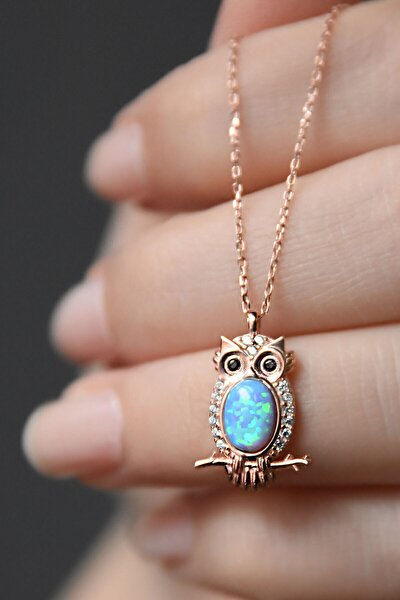 925 Ayar Gümüş Opal Taşlı Baykuş Kolye