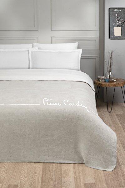 Pamuk Battaniye Çift Kişilik Logo Açık Bej