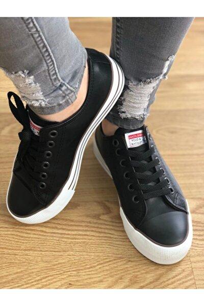 Unisex Siyah Suni Deri Kalın Taban Yürüyüş Ayakkabısı
