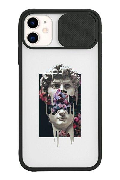 Güllü Heykel Tasarımlı Iphone 11 Slayt Lens Kamera Korumalı Siyah Telefon Kılıfı