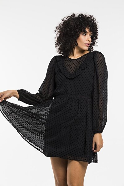 Kadın Siyah Sıfır Yaka Şifon Elbise