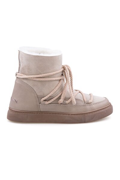 Kadın Bej  Süet İçi Kürk Sneaker 355050
