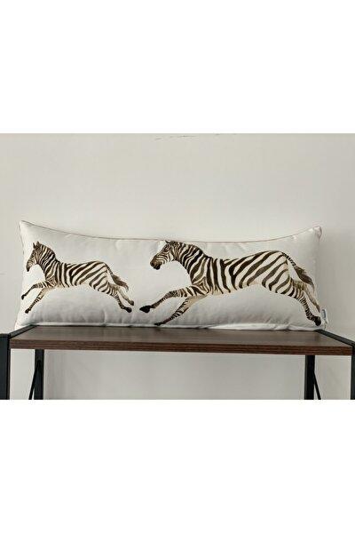 E712 Kenarları Biyeli Çift Tarafı Zebra Desenli Kırlent Kılıfı