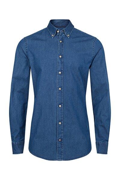 Erkek Mavi Gömlek Washed Button Down Slım Shırt TT0TT03582