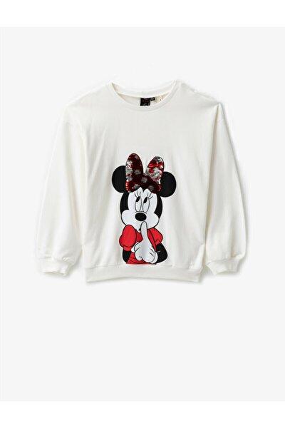 Minnie Mouse Lisansli Baskili Pullu Uzun Kollu Pamuklu Elbise