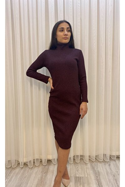 Kadın Boğazlı Triko Fitilli Kalem Elbise